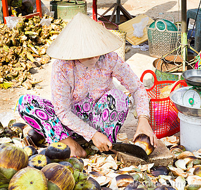 Market women preparing nata de coco Editorial Stock Photo