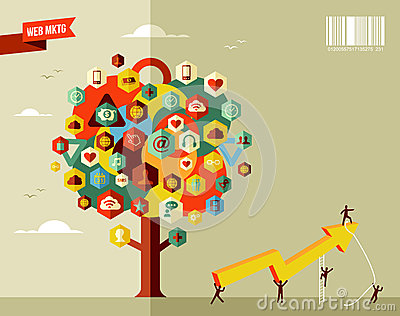 Marketing business icon tree