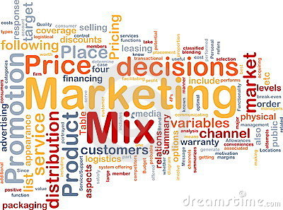 Marketing mix background concept