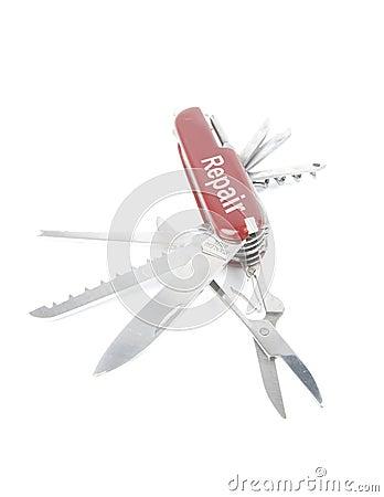 Marketing red swiss army pocket knife tool