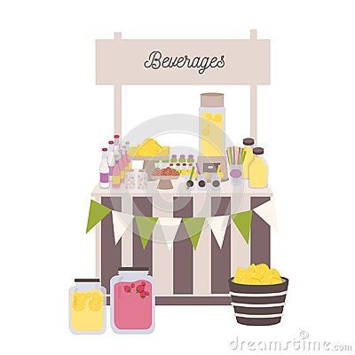 Marketplace or counter with signboard, bottles and jars with lemonade and other beverages. Place for selling refreshing Vector Illustration