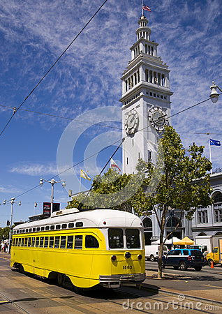 Yellow Retro Trolley Overhead Cable Car Downtown