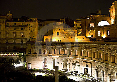Markets of Trajan by night