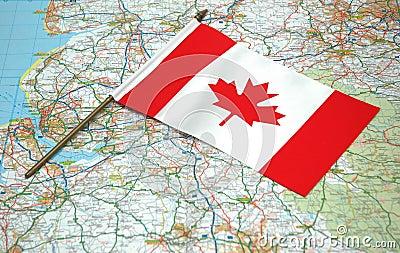 Markierungsfahne von Kanada und von Karte