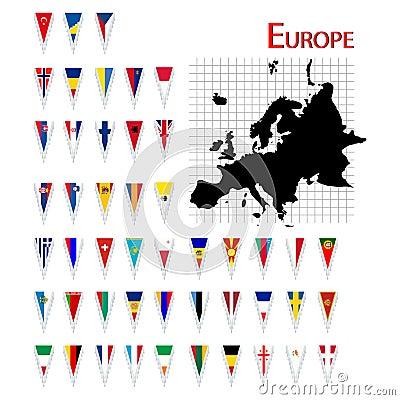 Markierungsfahnen von Europa
