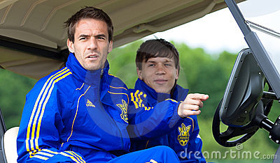 Marko Devic (L) and Yevhen Konoplyanka (R) Editorial Stock Image