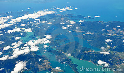 Marlborough Sounds & Picton, Aerial, New Zealand