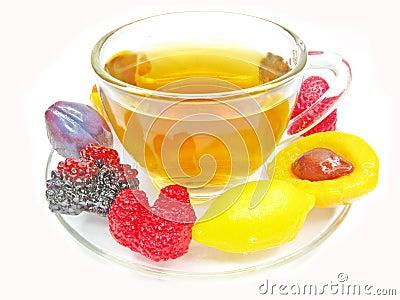 Marmalade gelatin fruits and tea cup