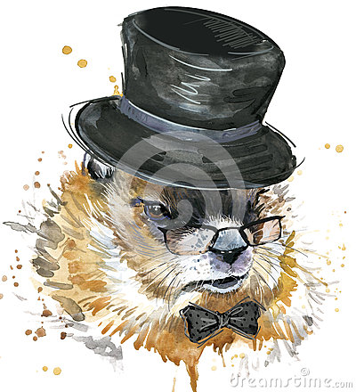 Free Marmot Watercolor. Groundhog Day. Royalty Free Stock Photos - 66004048