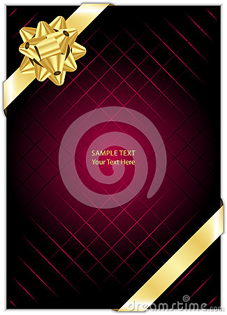 Maroon background with gold bow