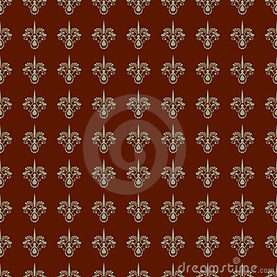 Maroon and Khaki Damask Seamless Pattern