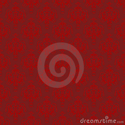 Maroon and Red Damask Seamless Pattern