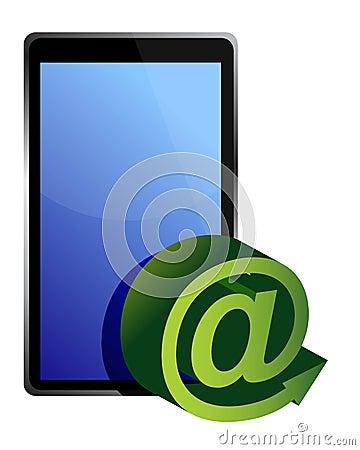 Marque en la tableta el correo