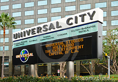 Marquee Board for Universal City Theme Park Editorial Stock Photo