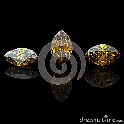 Marquis. Citrine.  Jewelry gems