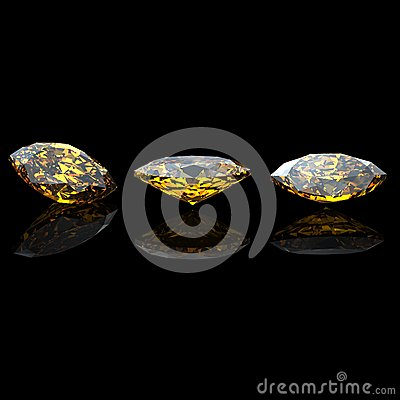 Marquis. Citrine.  jewelry gems on black