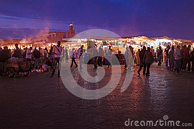 MARRAKECH - MOROCCO, 22 OCTOBER 2013:Jamaa el Fna is a square an Editorial Photography