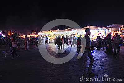 MARRAKECH - MOROCCO, 22 OCTOBER 2013:Jamaa el Fna is a square an Editorial Stock Photo
