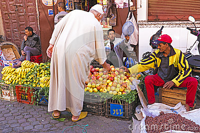 MARRAKECH - MOROCCO, OCTOBER 22 2013:Moroccan man in traditional Editorial Image
