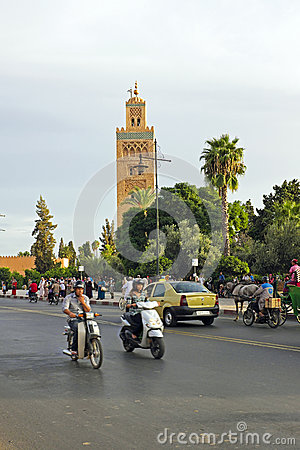 MARRAKECH, MOROCCO - OCTOBER 22, 2013:View on the Koutoubia mosq Editorial Stock Image