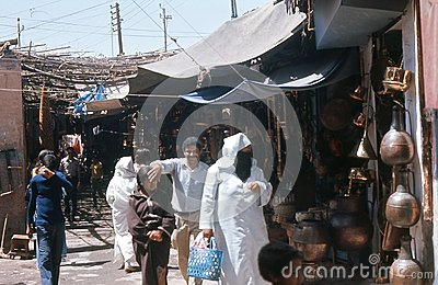 1974. Morocco. Marrakesh, bazaar. Cobberstreet. Editorial Photo