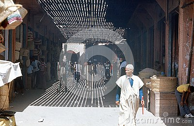 Marrakesh, bazar. Marruecos. Foto editorial
