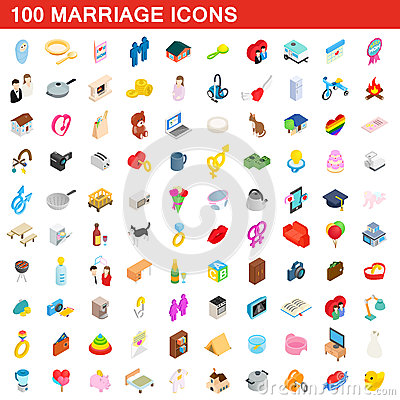 100 marriage icons set, isometric 3d style Vector Illustration