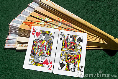 Marriage of playing cards and a fan Stock Photo