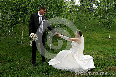 Romantic wedding couple