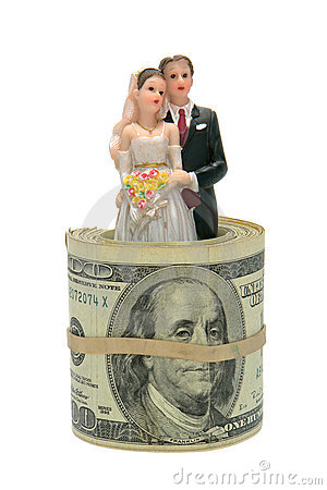 Married Couple Figurine inside Dollar Bill Roll
