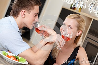Married couple has dating supper