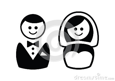 Married couple icons - groom and bride