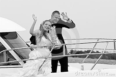 Married couple on speedboat