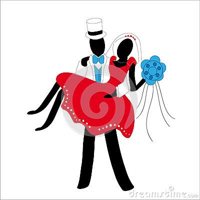 Married couple stylized in red and white