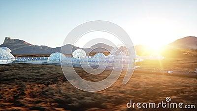 Mars-Basis, Kolonie Expedition auf ausländischem Planeten Schattenbild des kauernden Geschäftsmannes Geo-capsyles Leben auf Mars lizenzfreie abbildung