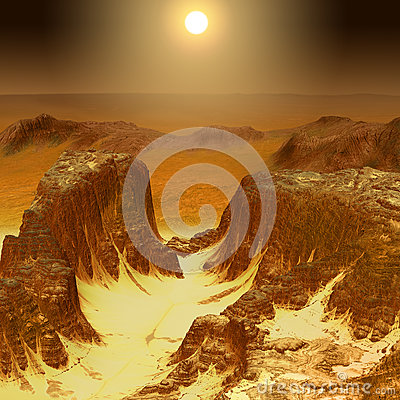 Mars Mountain Surface Scenery Cartoon Illustration