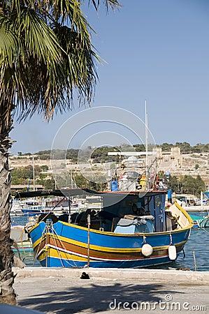 Marsaxlokk malta fishing village luzzu boat