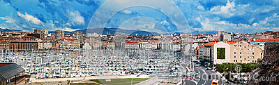 Marseille Frankrike panorama, berömd hamn.