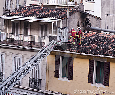Marseille Marine Fire Battalion in action Editorial Stock Photo