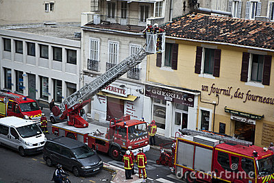 Marseille Marine Fire Battalion in action Editorial Stock Image