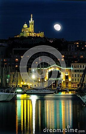 Free Marseilles Harbour Moon Night Royalty Free Stock Photo - 2404245