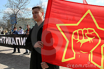 Marsh anti-capitalism-2011 in Moscow. Editorial Stock Photo