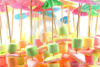 Marshmallow candy on stick with umbrella