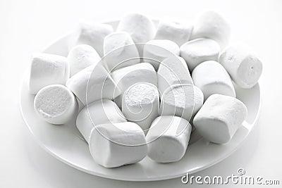 Marshmallows on plate
