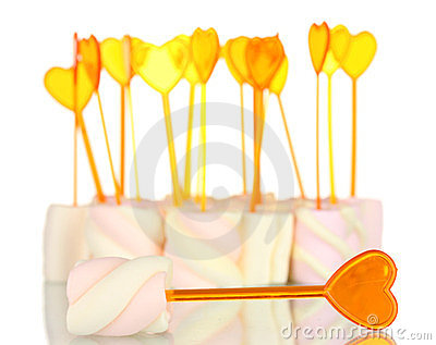 Marshmallows with skewers