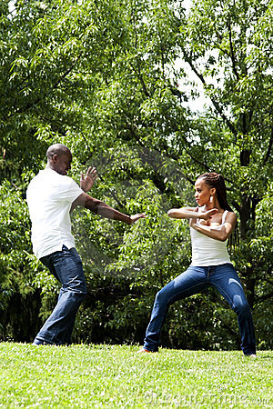 Free Martial Arts Excercise Couple Stock Photography - 14594352