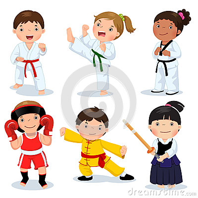 Free Martial Arts Kids. Children Fighting, Judo, Taekwondo, Karate, K Royalty Free Stock Images - 73140459