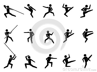 Martial arts symbol people icons