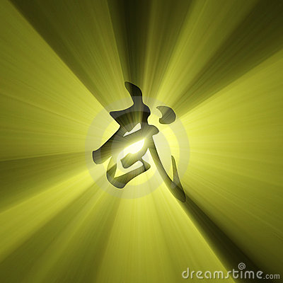 Martial arts character symbol light flare