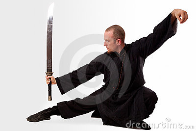 Martial arts teacher with sword